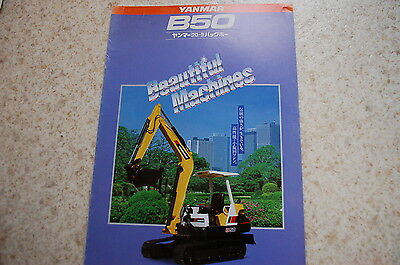 Yanmar B50 Mini Excavator Dealer Sales Brochure Japanese Catalog Vintage Crawler