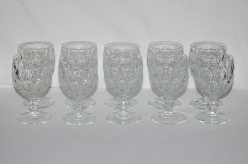 Ten (10) - Provincial Clear Imperial Glass - Clear Beehive Pattern Water Goblets