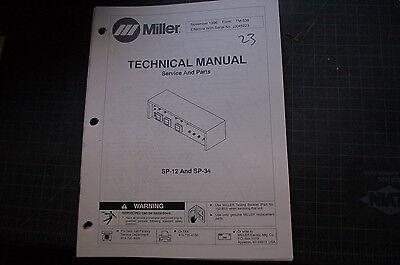 Miller Sp12 Sp34 Welding Welder Parts Operation Owner Manual Book Operator Tig