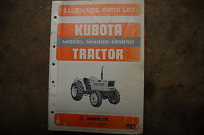 Kubota M4950 M5950 Tractor Parts Manual Book Catalog List Spare Farm 1983 Shop