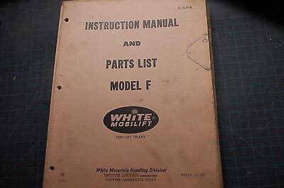 White Model F Forklift Service Repair Parts Manual Book Catalog Spare List Shop