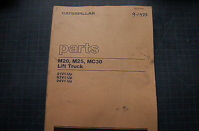 Caterpillar Towmotor M20 M25 Mc30 Forklift Parts Manual Book Lift Truck Oem 1977