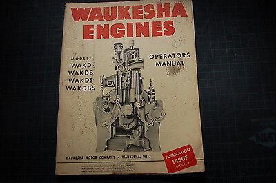 Waukesha Wakd Wakdb Wakds Wakdbs Engine Service Operator Manual Repair Shop Book