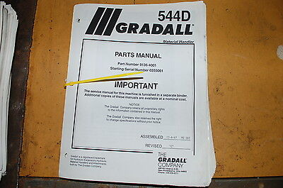 Gradall 544d Telescopic Forklift Material Handler Parts Manual Book Catalog List