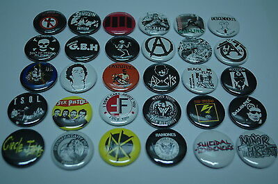 Punk Rock Buttons Pins Classic 80s 90s Music 1 Inch Size Lot of 30 (LSB1)