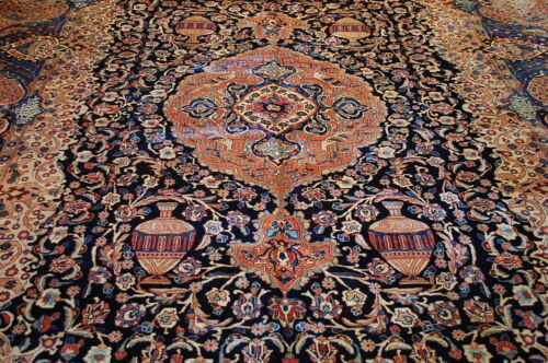 Circa 1930s Super Detailed Persian Kashan Rug 9.9x12.8 Zir Khaki Design