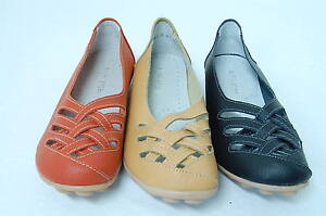 Womens-Comfortable-Soft-Leather-Flats-Braid-Pattern-Slip-on-Shoes-Size-Au5-11