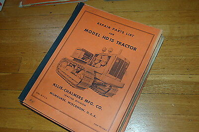 Allis Chalmers Hd15 Tractor Dozer Crawler Parts Manual Book Catalog Spare List