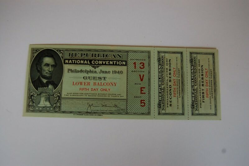 1940 Repubican National Convention Fifth Day Full Ticket - Philadelphia