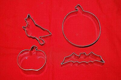 Halloween Cookie Cutters Metal Witch, Bat, Pumpkins Small and Large    S6871 - Large Metal Halloween Cookie Cutters