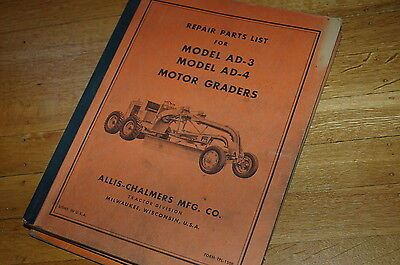 Allis Chalmers Ad3 Ad4 Motor Grader Parts Manual Book Catalog Spare Road Plow