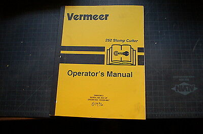Vermeer 252 Stump Cutter Grinder Operator Owner Operation Book Manual 1996 Spare