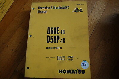 Komatsu D58 1b Tractor Dozer Crawler Owner Operator Operation Maintenance Manual