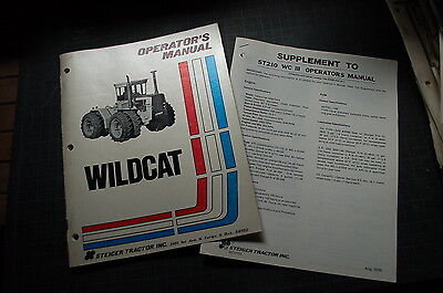 Steiger Tractor Wildcat Owner Operator Operation Maintenance Parts Manual Book