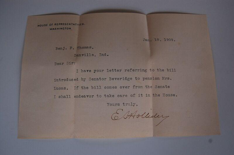 Rare 1909 Congressman Elias Holliday Signed Letter
