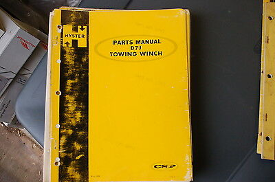 Hyster D7j Towing Winch Parts Manual Book Catalog List Cat Tractor Dozer Crawler