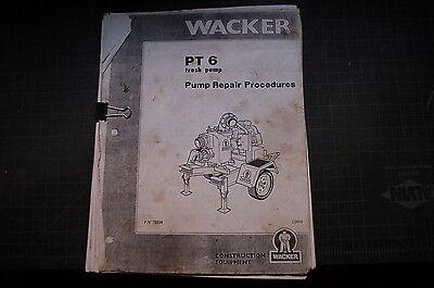 Wacker Pt6 Trash Pump Service Repair Shop Manual Diesel Pumpset Centrifugal Book