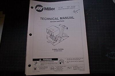 Miller D52a D54a Welding Welder Parts Operation Owner Manual Book Operator Tig