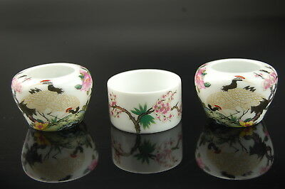 Porcelain Bird Feeders Seed/Water Cups Bowls for Chinese Bird Cage Crane Design