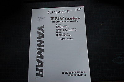 Yanmar Diesel Engine Operation Operator Owner Manual 2005 Guide Book Industrial