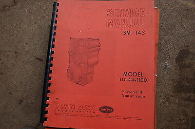 Twin Disc Td 44 1100 Power Shift Transmission Repair Service Manual Overhaul 143
