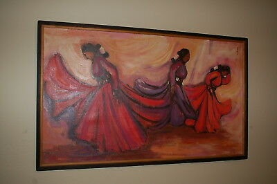Peruvian Dancing Women - (Latin America, 20th Cen.) Oil Painting signed 52 x 32
