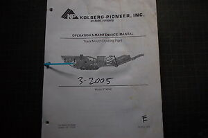KOLBERG-PIONEER-RT4240-TRACK-CRUSHING-PLANT-Owner-Operation-Manual-maintenance