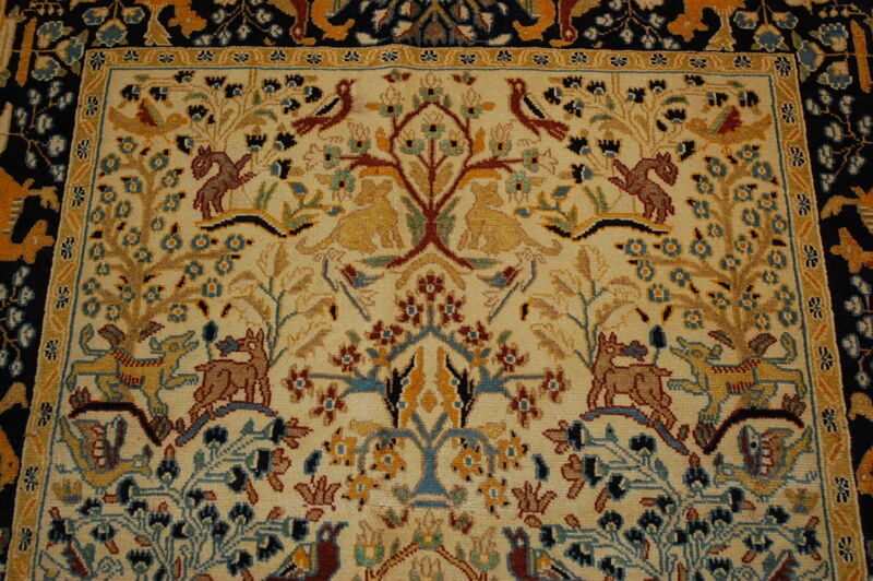 C1930s Antique Highly Detaled Prsian Qome Rug 3.7x5 Lots Of Silk Accents_beauty