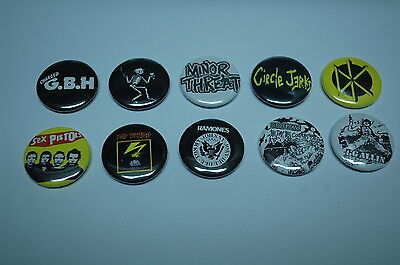 Punk Rock Buttons Pins Classic 80s 90s Music 1 Inch Size Lot of 10 (LSB2)