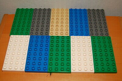 LOT OF 10 LEGO DUPLO Base Plates 4 x 8 4x8 Assorted Colors
