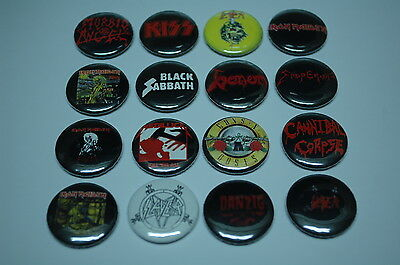 Rock Buttons Pins Classic Metal 80s 90s Music 1 Inch Size Lot of 16 (LSB3)
