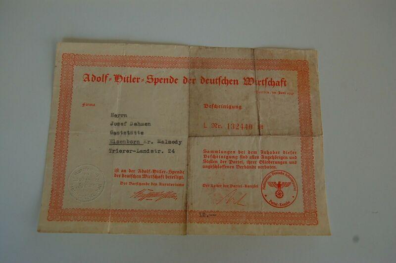 Unique 1941 Hitler German Economy Donation Certificate