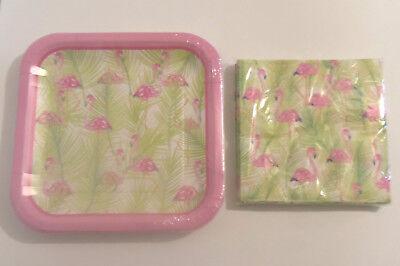 Pink Flamingo Paper Plates Napkins Set Serves 14 Hawaiian Luau Tiki Party - Hawaiian Paper Plates