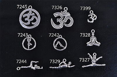 10/20s Charm Silver Pendant YOGA Style DIY Jewelry making Fit Bracelet Necklace  (Yoga Charms)