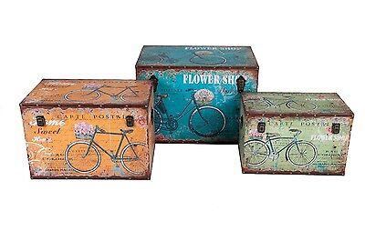Holztruhe Fahrraddesign Shabby Look Vintage Holzkiste Schatzkiste Dekokiste Box