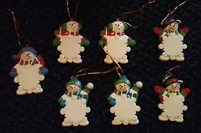 SNOWMAN snowflake CHRISTMAS Ornaments Personalize 3.5 in MIB Oriental Trading ()