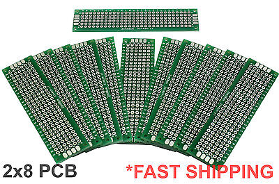 12pc 2x8 cm Double Side DIY Prototype Circuit Breadboard PCB Universal Board (G)