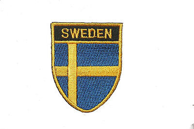 SWEDEN COUNTRY FLAG OVAL SHIELD FLAG EMBROIDERED IRON-ON PATCH CREST BADGE ()