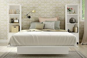 3 Pc Queen White Platform Bedroom Set Modern Bed and 2 Book Shelves Furniture