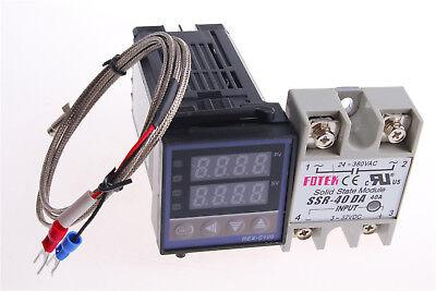 Digital Pid Temperature Controller 110-240v Kit Rex-c100 Ssr40da 1set