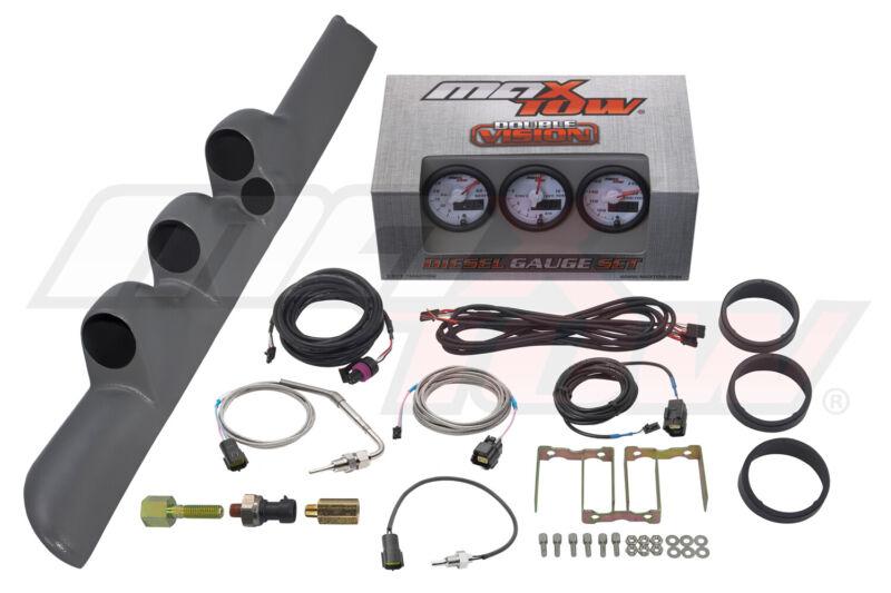 White MaxTow Diesel Gauges + Gray Triple Pod w SPK for 98-02 Dodge Ram Cummins