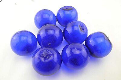 "6 PCS COBALT BLUE DECORATIVE REPRODUCTION BLOWN GLASS FLOAT FISHING BUOY BALL 4/"""