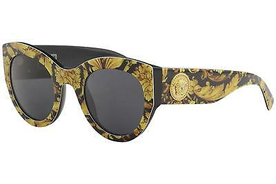 NEW Versace VE4353-5283/87 51mm Baroque Sunglasses Yellow-Black / Grey Lens