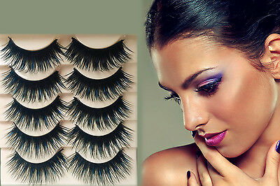 5 Pairs Blue+Black Long Thick Cross False Eyelashes Handmade eye lashes makeup