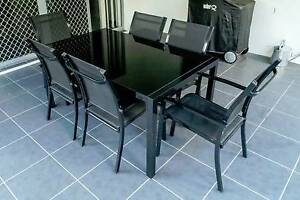 7pc Outdoor Dining Set - Glass/Aluminium Black Ormiston Redland Area Preview