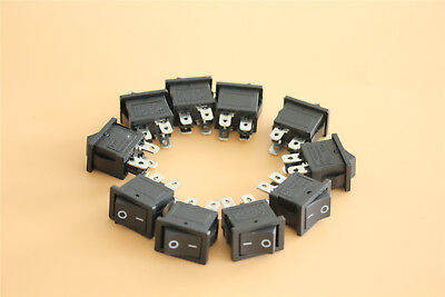 10pcs 4 Pin Onoff 2 Position Rectangle Snap-in Rocker Switch Dpst Carboat