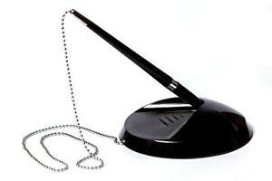 Quality Black Reception Pen On Chain With Stand - Bank Desk Shop