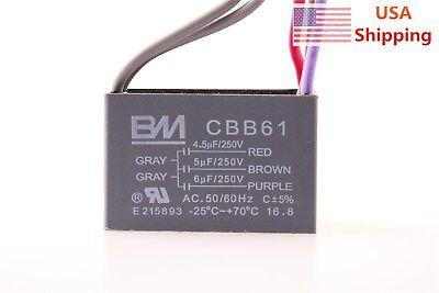 Electric Motor Start Capacitor 250VAC CBB61 4.5uf+5uf+6uf 5 Wire Ceiling Fan