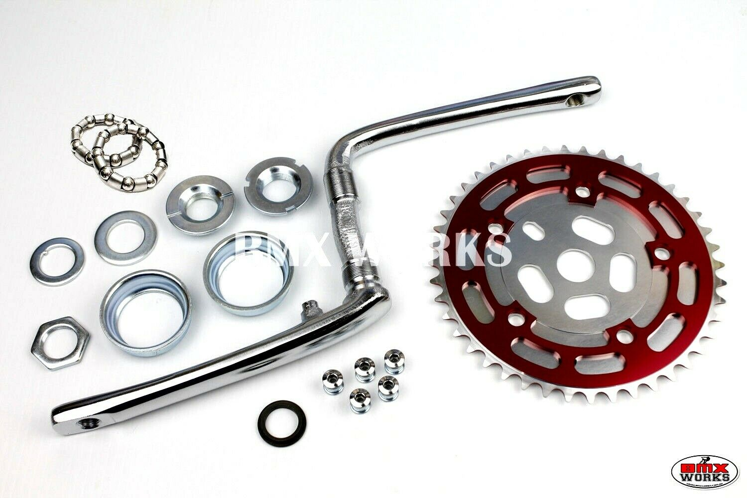 "3//32/"" Old School BMX Style 44 Teeth ProMX BMX Silver Chainring 130BCD"