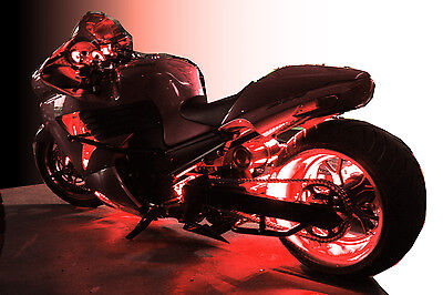 LED Motorcycle Accent Engine Ground Wheel Light Kit for Harley Davidson - Red